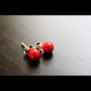 Acrylic Ear Studs - red and sky blue